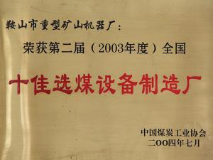 2003~2004年度十佳选煤设备制造厂