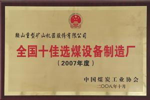 2007~2008年度十佳选煤设备制造厂