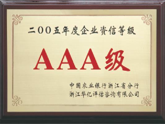 AAA级企业资信荣誉